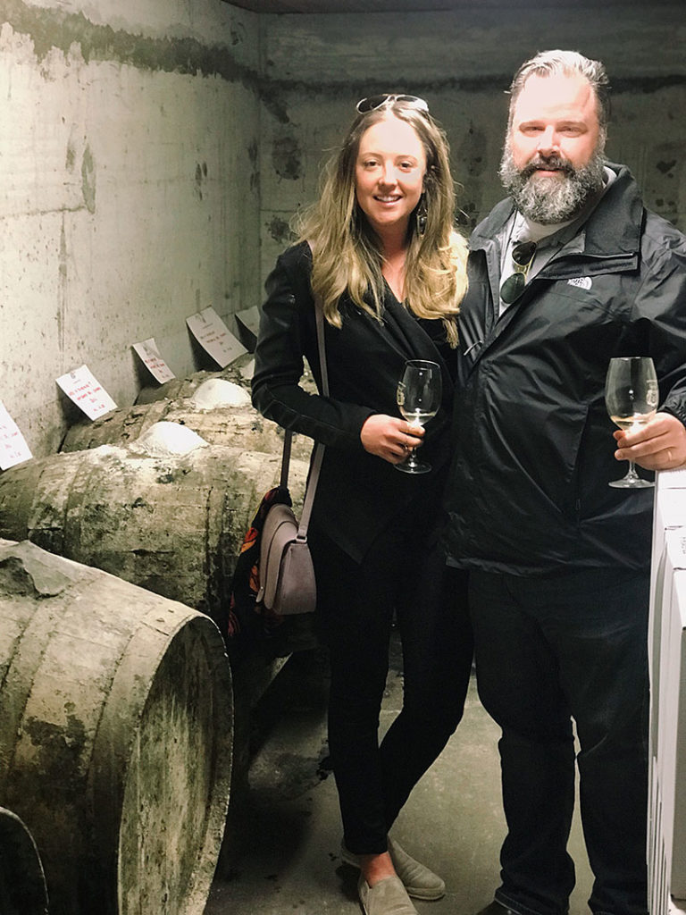 Brian Linihan and Alexandrea Quinn of Marotta's barrel tasting in Italy